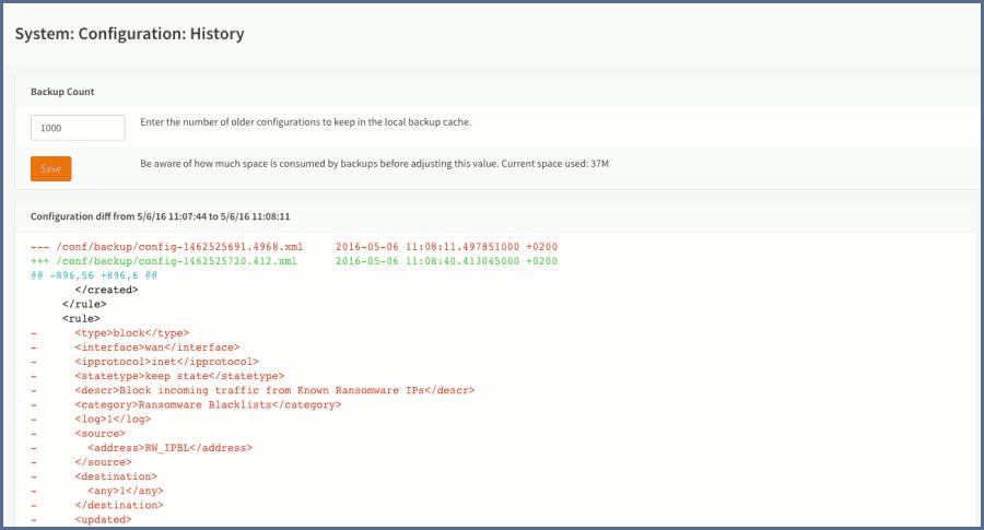 OPNsense configuration history